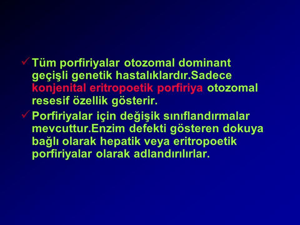 Tüm porfiriyalar otozomal dominant geçişli genetik hastalıklardır