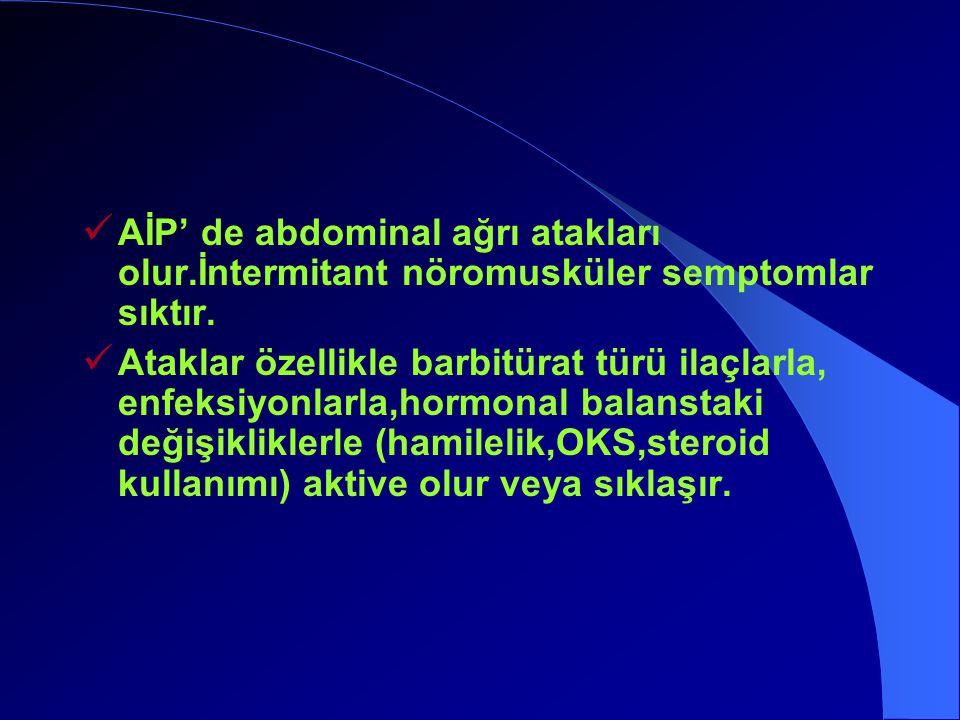AİP' de abdominal ağrı atakları olur