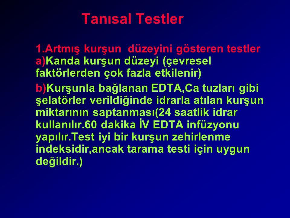 Tanısal Testler 1.Artmış kurşun düzeyini gösteren testler a)Kanda kurşun düzeyi (çevresel faktörlerden çok fazla etkilenir)