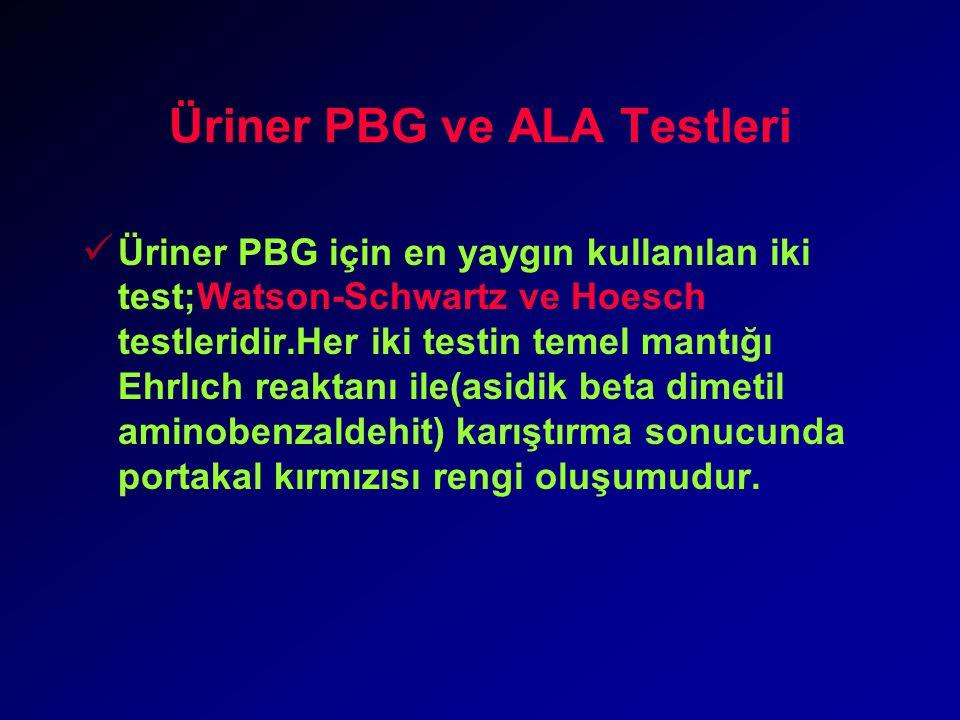 Üriner PBG ve ALA Testleri