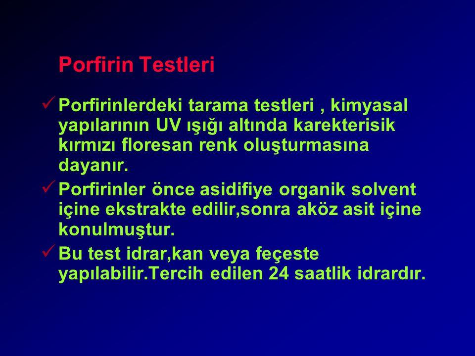 Porfirin Testleri Porfirinlerdeki tarama testleri , kimyasal yapılarının UV ışığı altında karekterisik kırmızı floresan renk oluşturmasına dayanır.