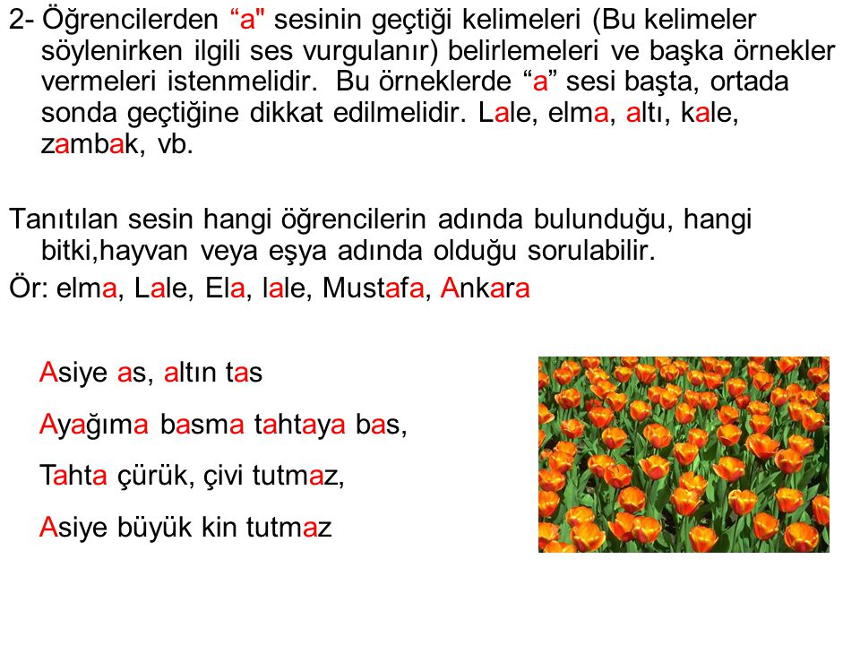 2- Öğrencilerden a sesinin geçtiği kelimeleri (Bu kelimeler söylenirken ilgili ses vurgulanır) belirlemeleri ve başka örnekler vermeleri istenmelidir. Bu örneklerde a sesi başta, ortada sonda geçtiğine dikkat edilmelidir. Lale, elma, altı, kale, zambak, vb.