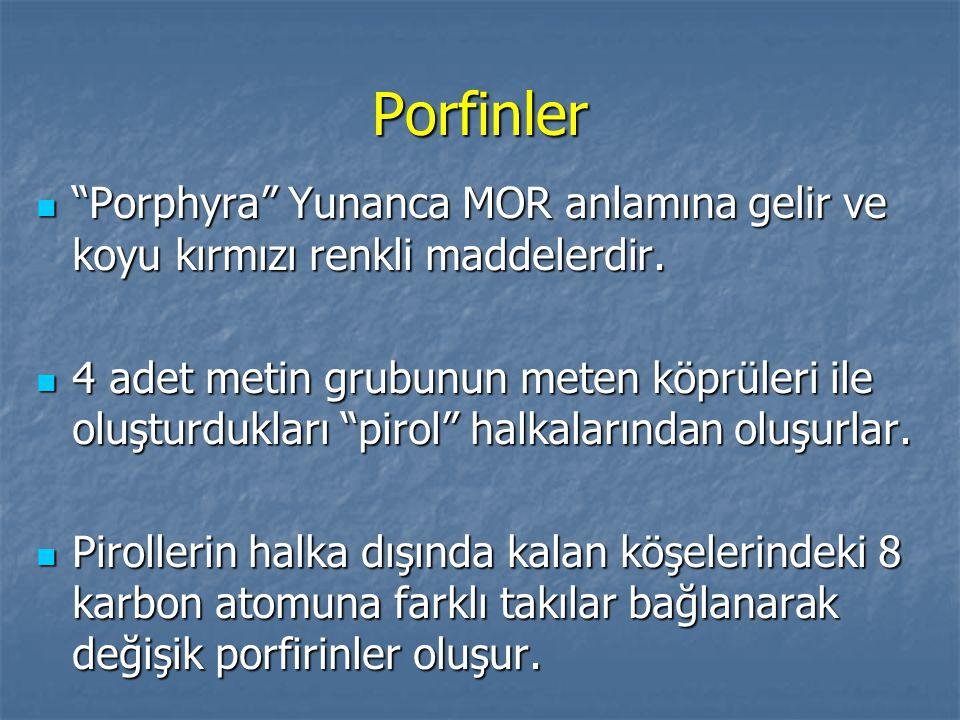 Porfinler Porphyra Yunanca MOR anlamına gelir ve koyu kırmızı renkli maddelerdir.