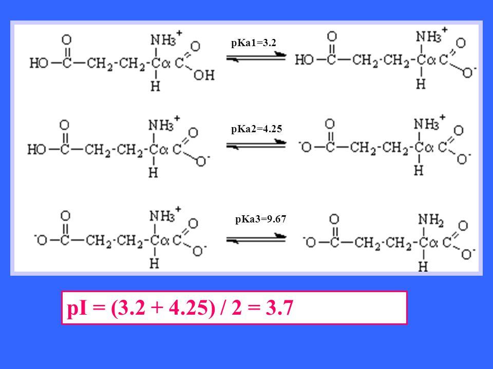 pKa1=3.2 pKa2=4.25 pKa3=9.67 pI = (3.2 + 4.25) / 2 = 3.7