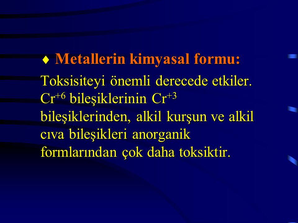  Metallerin kimyasal formu:
