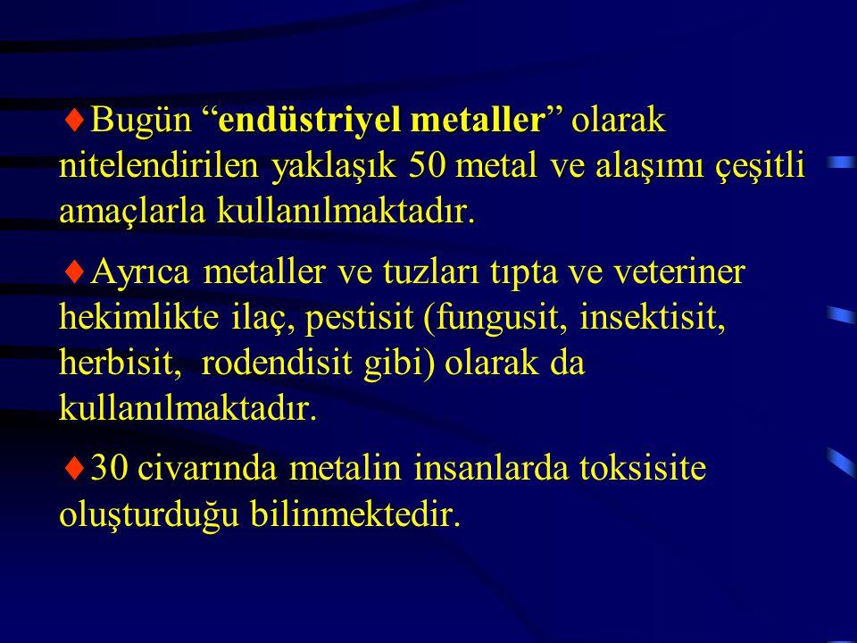 Bugün endüstriyel metaller olarak nitelendirilen yaklaşık 50 metal ve alaşımı çeşitli amaçlarla kullanılmaktadır.