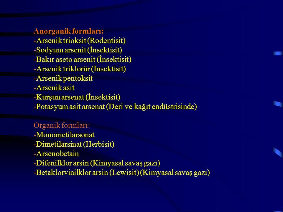 Anorganik formları: -Arsenik trioksit (Rodentisit) -Sodyum arsenit (İnsektisit) -Bakır aseto arsenit (İnsektisit) -Arsenik triklorür (İnsektisit) -Arsenik pentoksit -Arsenik asit -Kurşun arsenat (İnsektisit) -Potasyum asit arsenat (Deri ve kağıt endüstrisinde) Organik formları: -Monometilarsonat -Dimetilarsinat (Herbisit) -Arsenobetain -Difenilklor arsin (Kimyasal savaş gazı) -Betaklorvinilklor arsin (Lewisit) (Kimyasal savaş gazı)