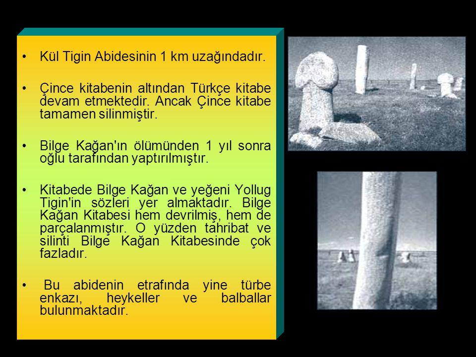 Bilge Kağan Kitabesi Kül Tigin Abidesinin 1 km uzağındadır.