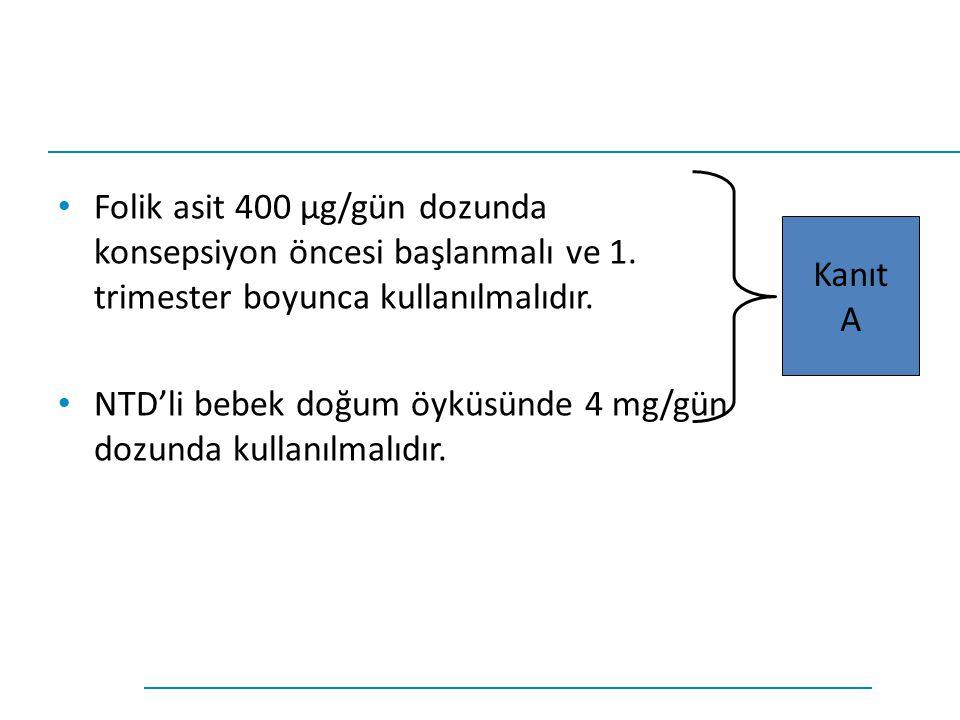 Folik asit 400 µg/gün dozunda konsepsiyon öncesi başlanmalı ve 1