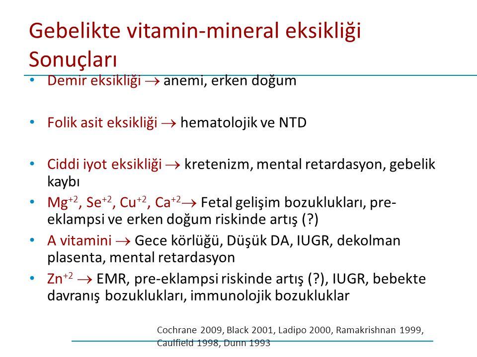 Gebelikte vitamin-mineral eksikliği Sonuçları