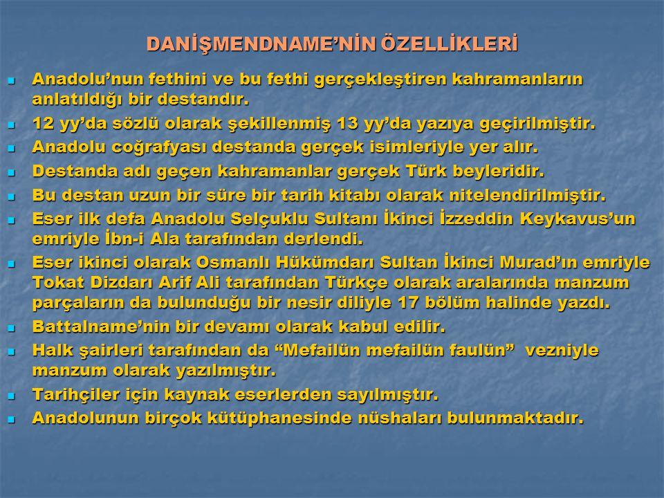 DANİŞMENDNAME'NİN ÖZELLİKLERİ