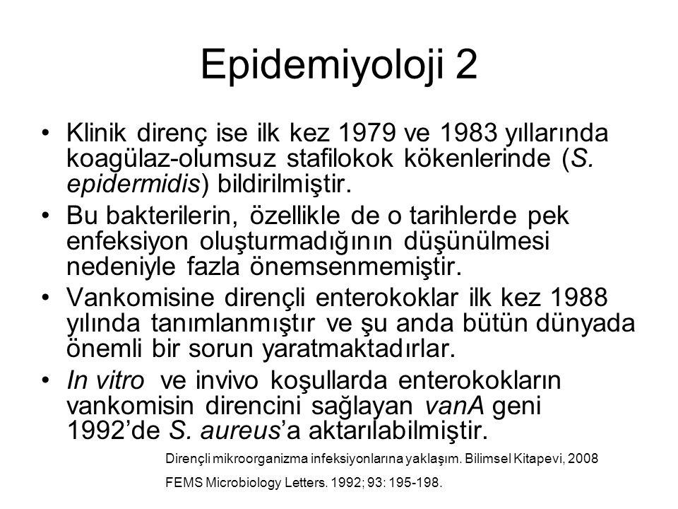 Epidemiyoloji 2 Klinik direnç ise ilk kez 1979 ve 1983 yıllarında koagülaz-olumsuz stafilokok kökenlerinde (S. epidermidis) bildirilmiştir.