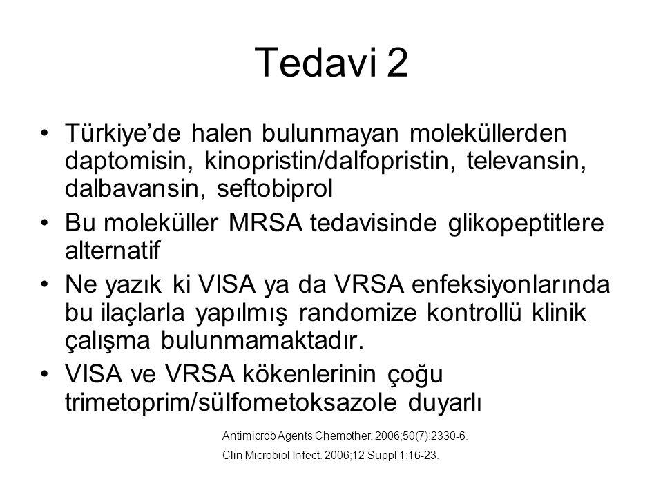 Tedavi 2 Türkiye'de halen bulunmayan moleküllerden daptomisin, kinopristin/dalfopristin, televansin, dalbavansin, seftobiprol.