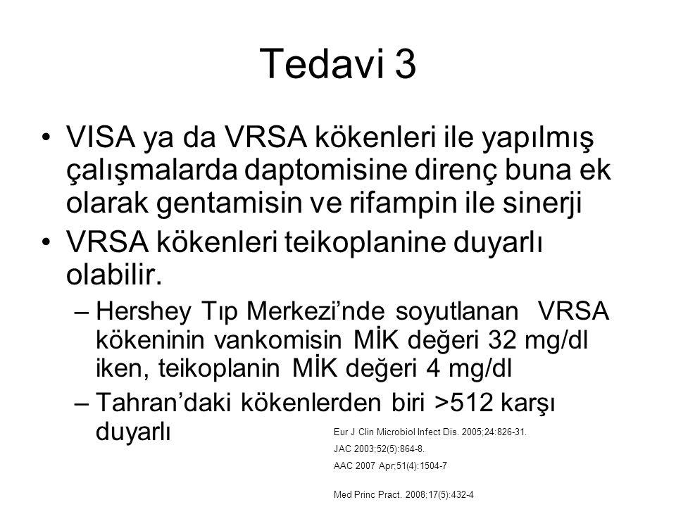 Tedavi 3 VISA ya da VRSA kökenleri ile yapılmış çalışmalarda daptomisine direnç buna ek olarak gentamisin ve rifampin ile sinerji.