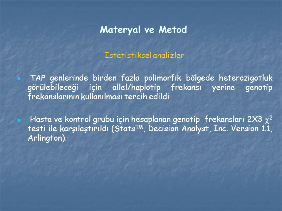 İstatistiksel analizler
