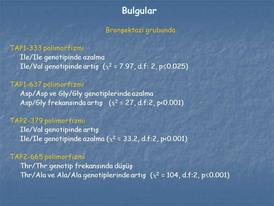 Bulgular Bronşektazi grubunda TAP1-333 polimorfizmi