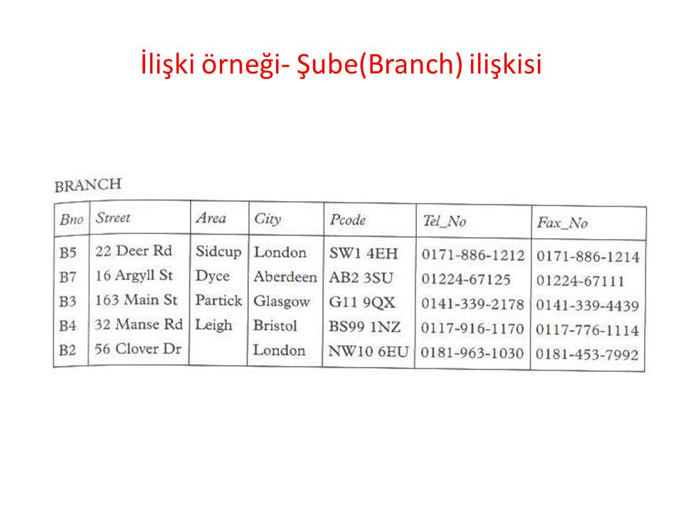 İlişki örneği- Şube(Branch) ilişkisi