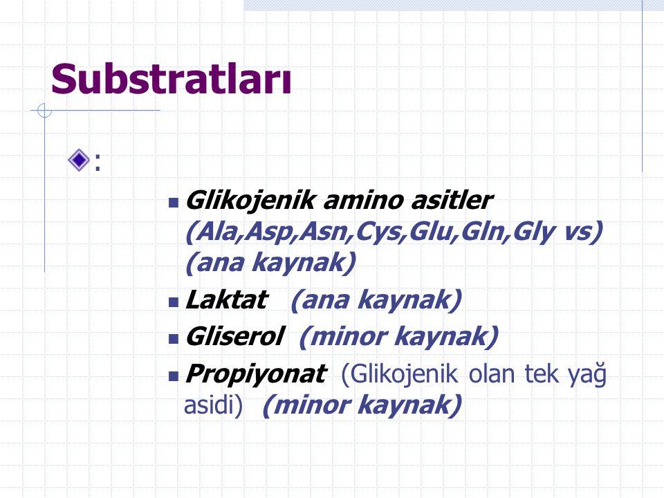 Substratları : Glikojenik amino asitler (Ala,Asp,Asn,Cys,Glu,Gln,Gly vs) (ana kaynak) Laktat (ana kaynak)