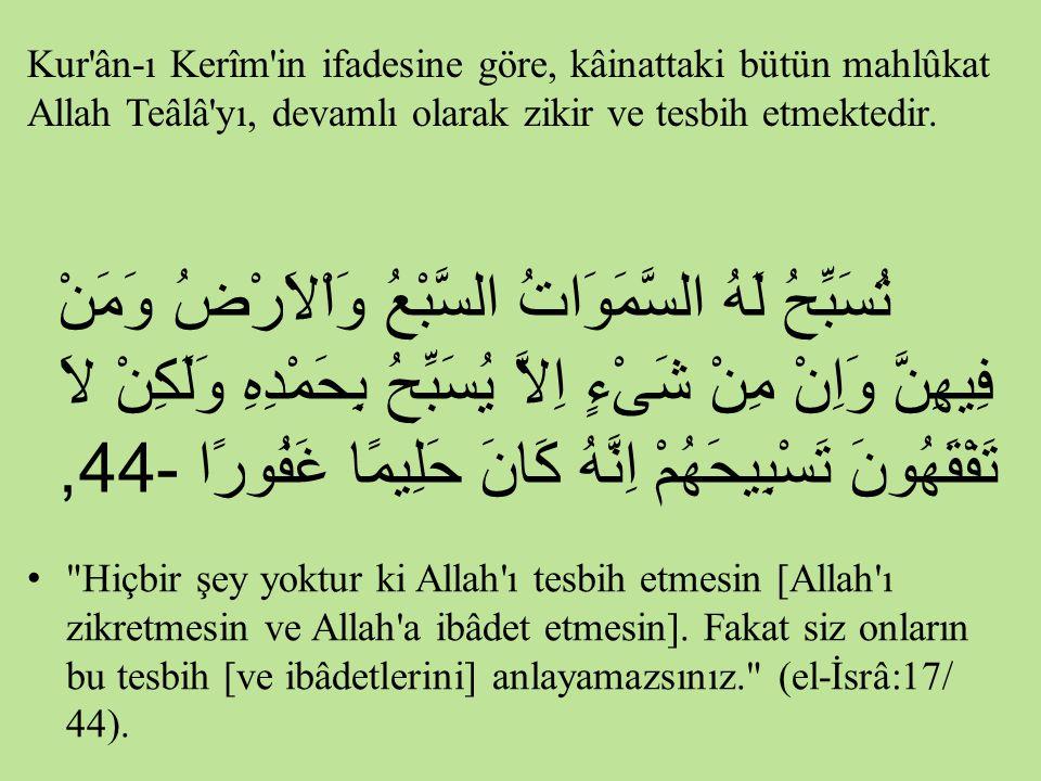 Kur ân-ı Kerîm in ifadesine göre, kâinattaki bütün mahlûkat Allah Teâlâ yı, devamlı olarak zikir ve tesbih etmektedir.