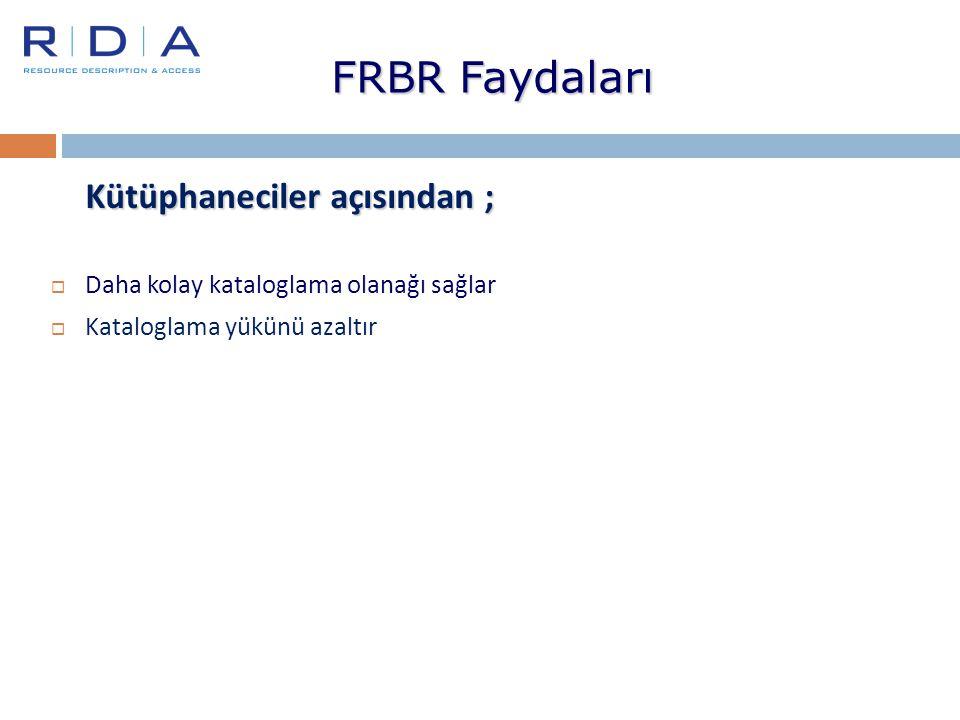 FRBR Faydaları Kütüphaneciler açısından ;