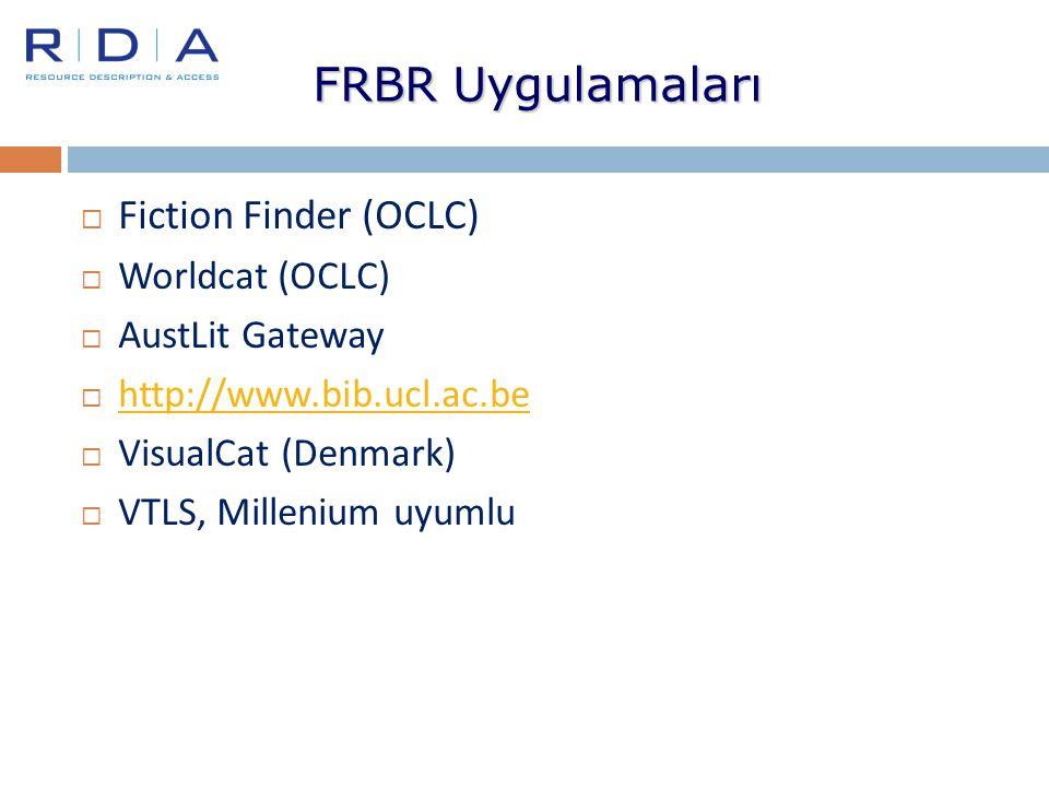 FRBR Uygulamaları Fiction Finder (OCLC) Worldcat (OCLC)