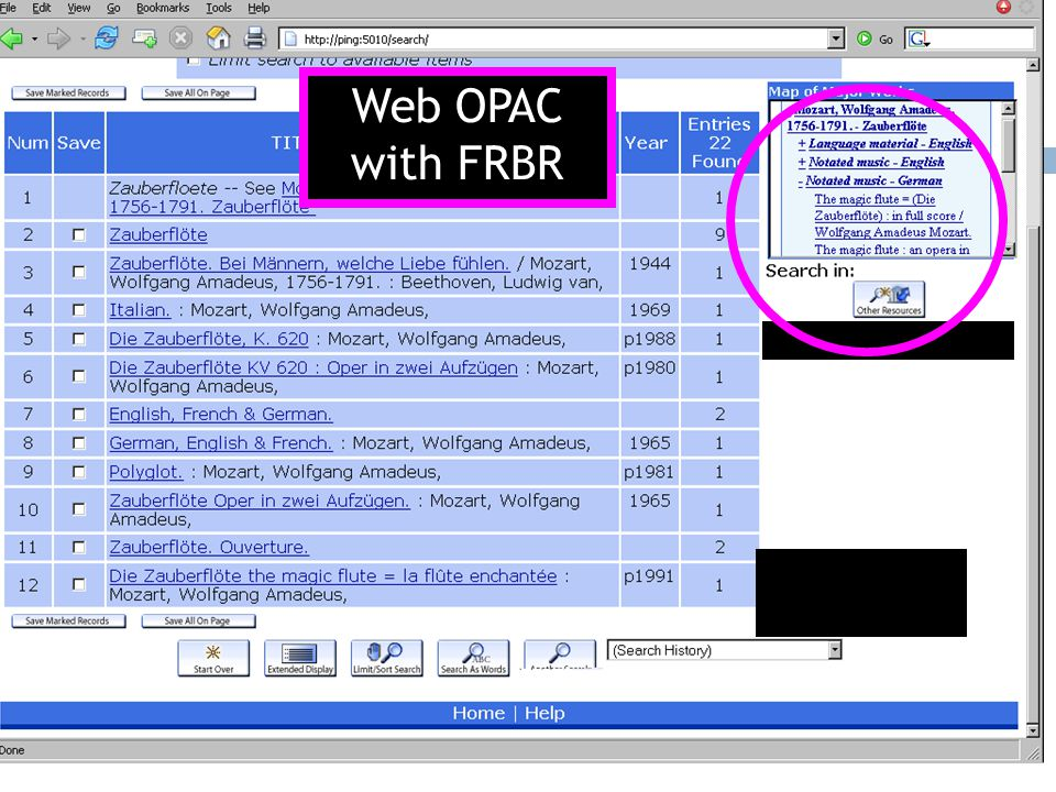 Web OPAC with FRBR