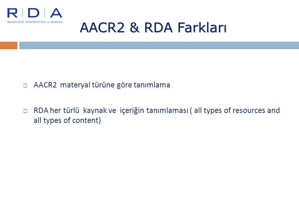 AACR2 & RDA Farkları AACR2 materyal türüne göre tanımlama