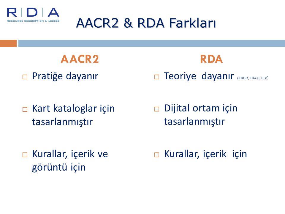 AACR2 & RDA Farkları AACR2 RDA Pratiğe dayanır