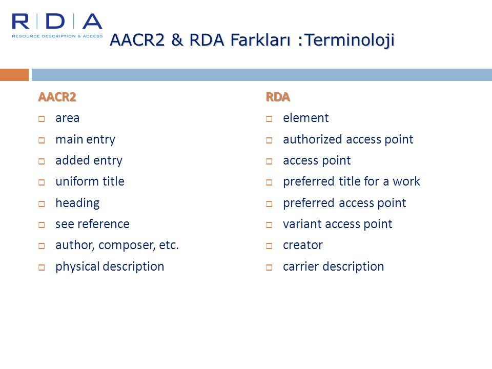 AACR2 & RDA Farkları :Terminoloji