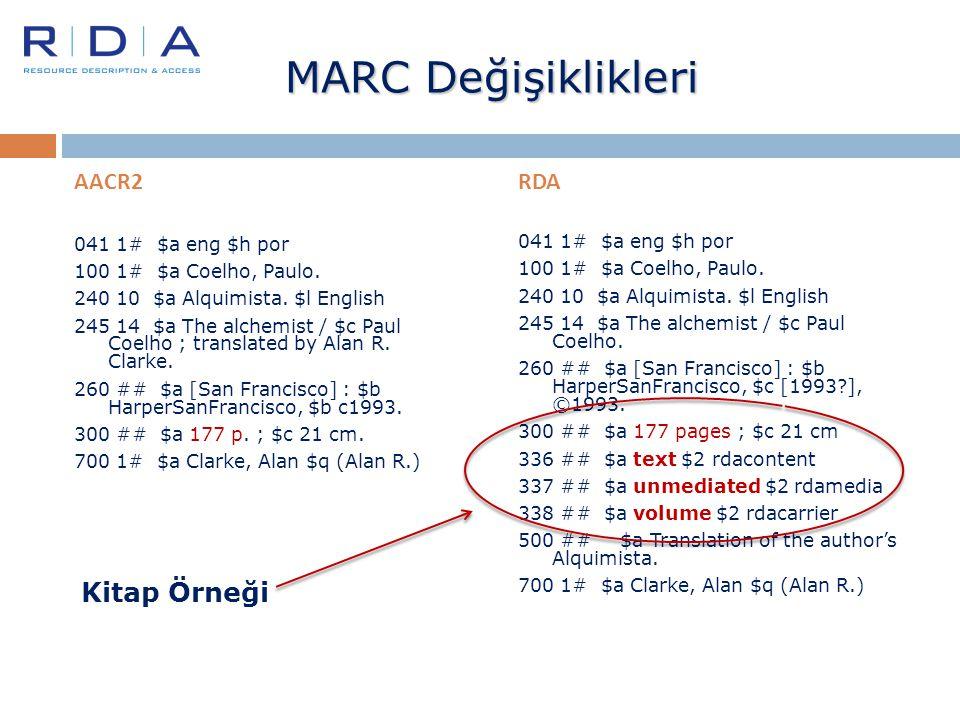 MARC Değişiklikleri Kitap Örneği AACR2 RDA 041 1# $a eng $h por