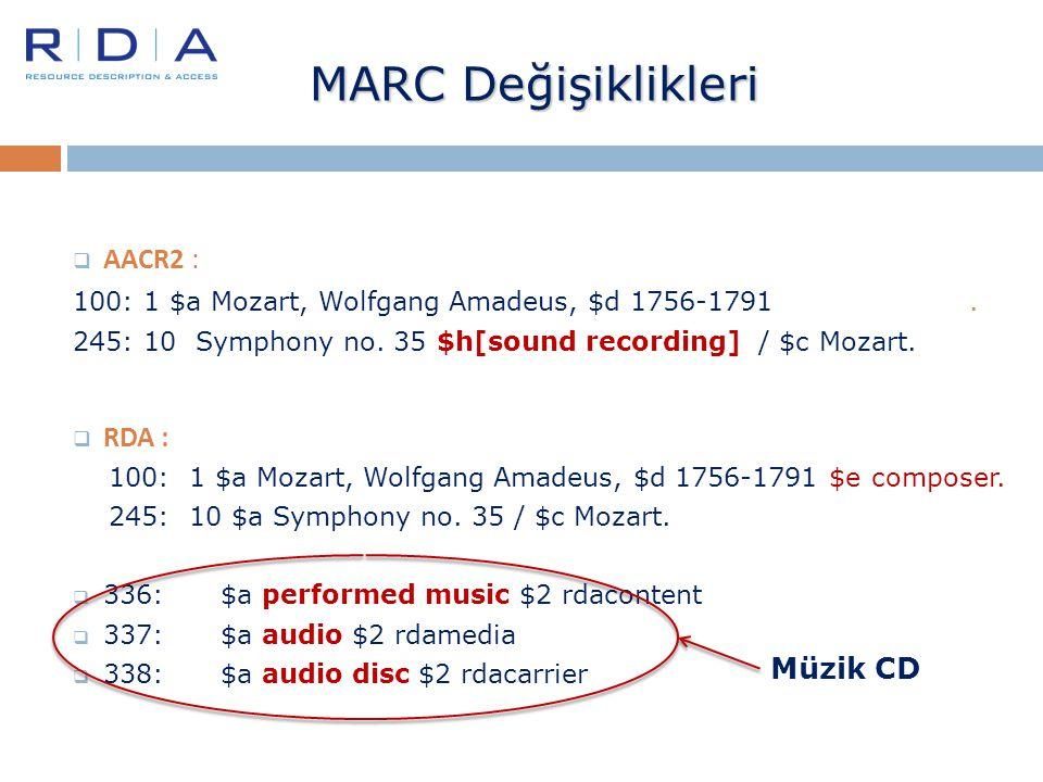 MARC Değişiklikleri AACR2 : RDA : Müzik CD