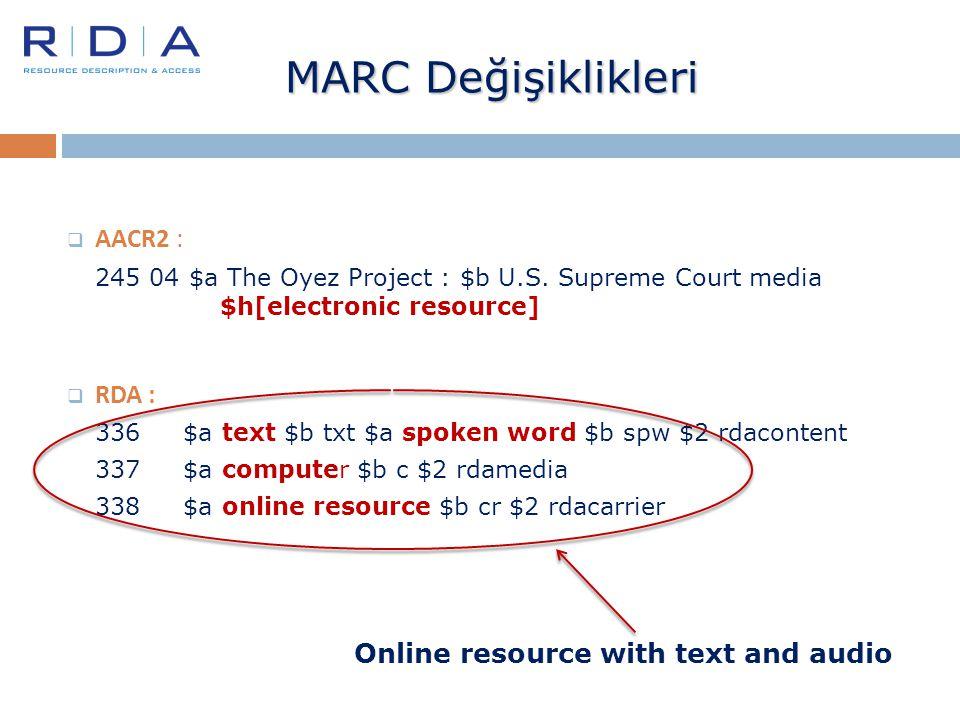 MARC Değişiklikleri AACR2 : RDA : Online resource with text and audio