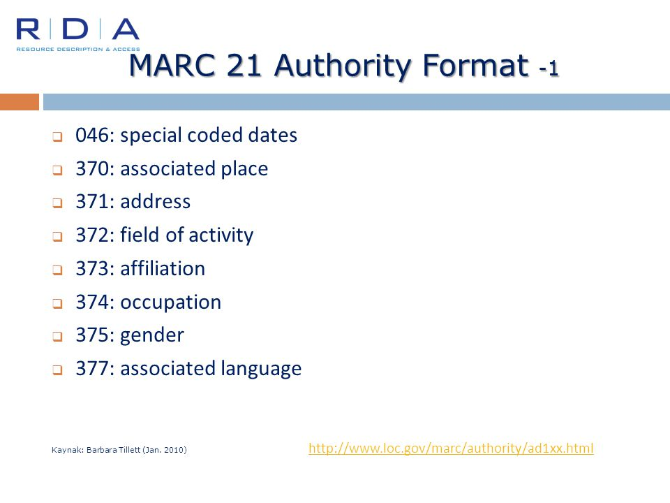 MARC 21 Authority Format -1