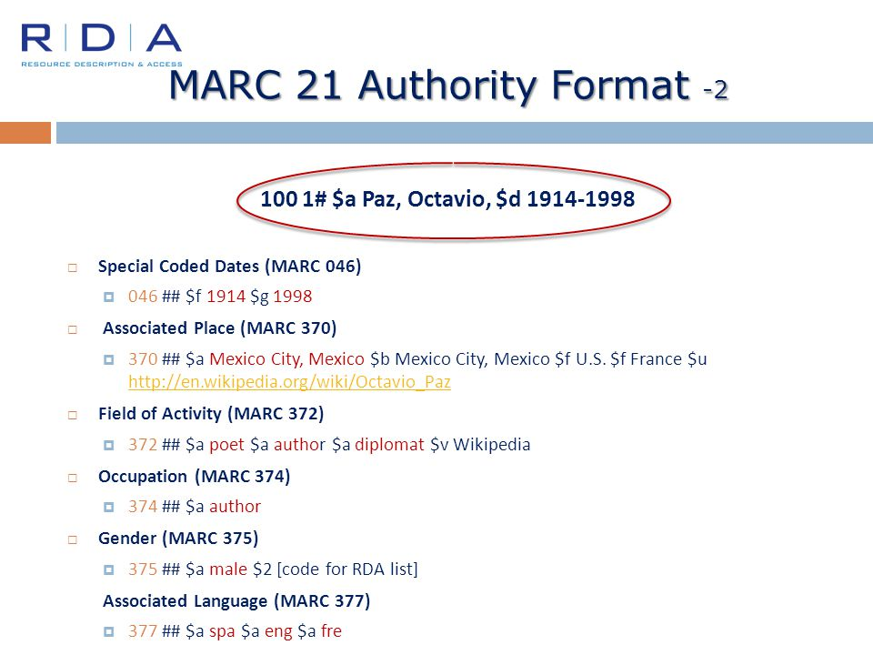 MARC 21 Authority Format -2