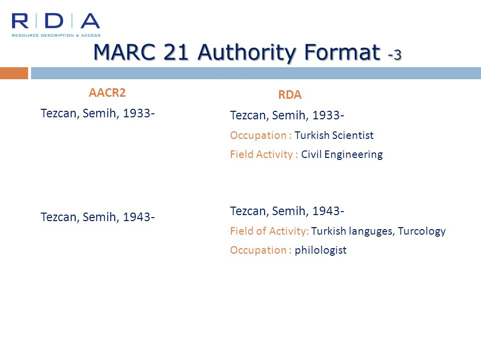 MARC 21 Authority Format -3