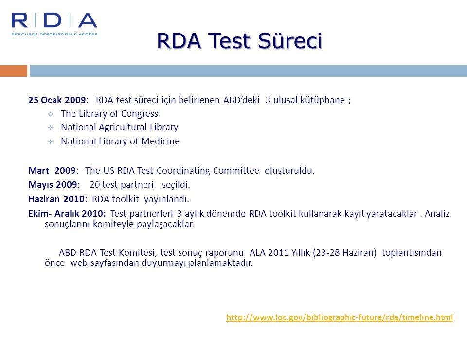 RDA Test Süreci 25 Ocak 2009: RDA test süreci için belirlenen ABD'deki 3 ulusal kütüphane ; The Library of Congress.
