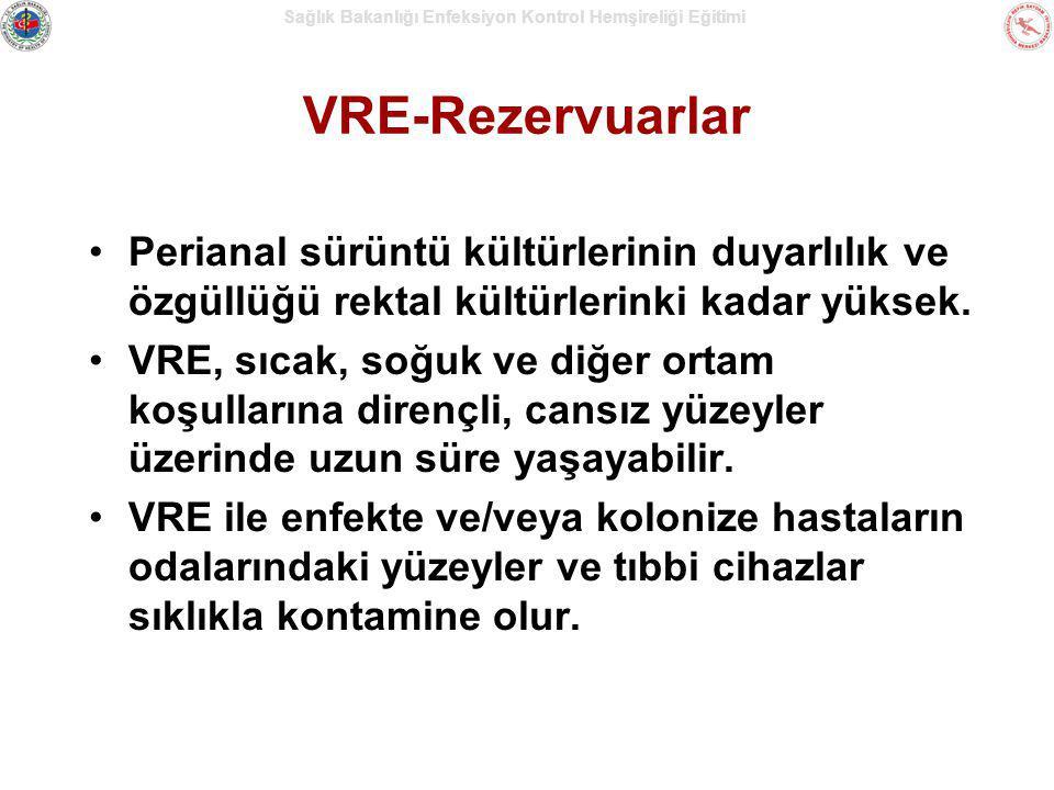 VRE-Rezervuarlar Perianal sürüntü kültürlerinin duyarlılık ve özgüllüğü rektal kültürlerinki kadar yüksek.