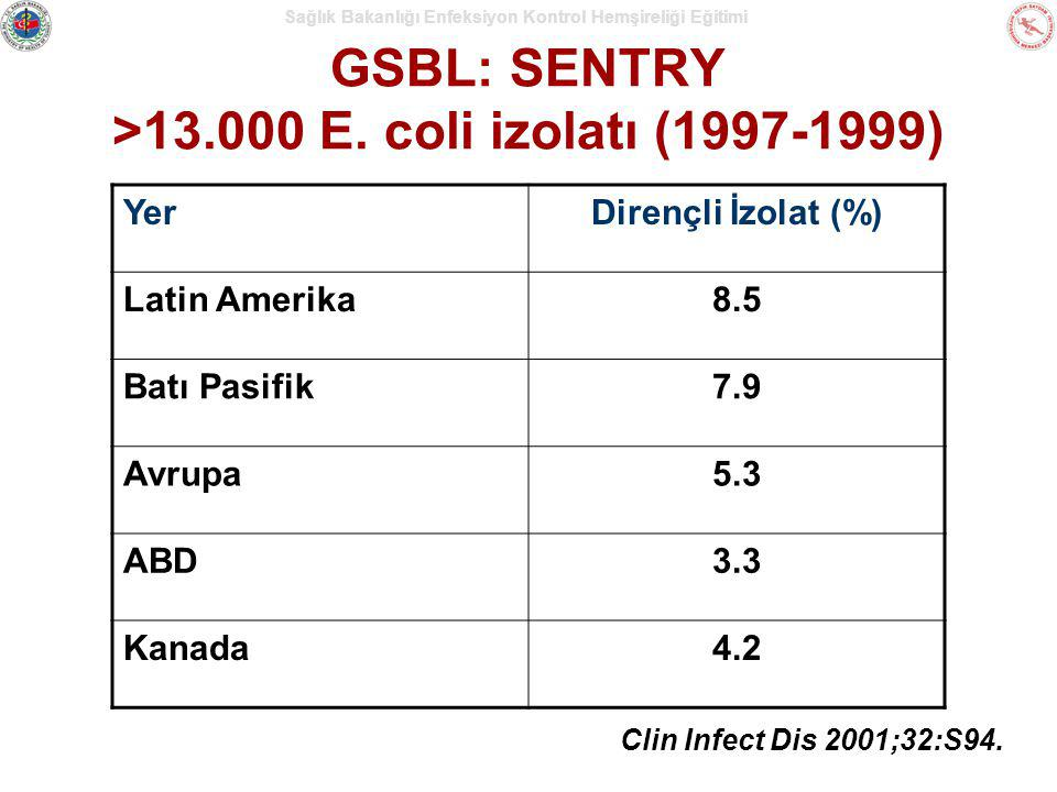 GSBL: SENTRY >13.000 E. coli izolatı (1997-1999)