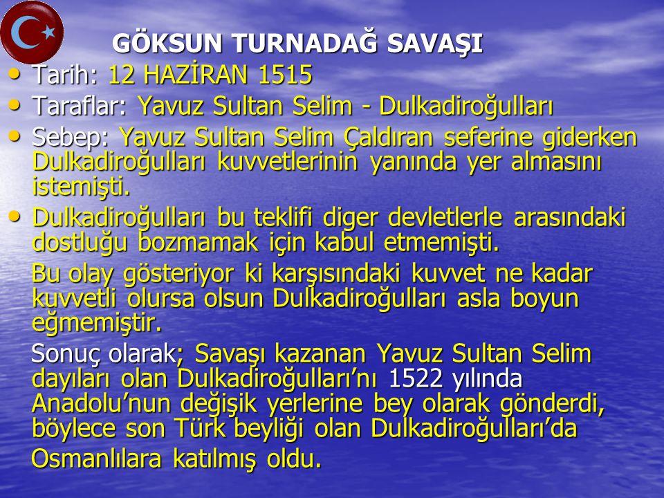 Taraflar: Yavuz Sultan Selim - Dulkadiroğulları