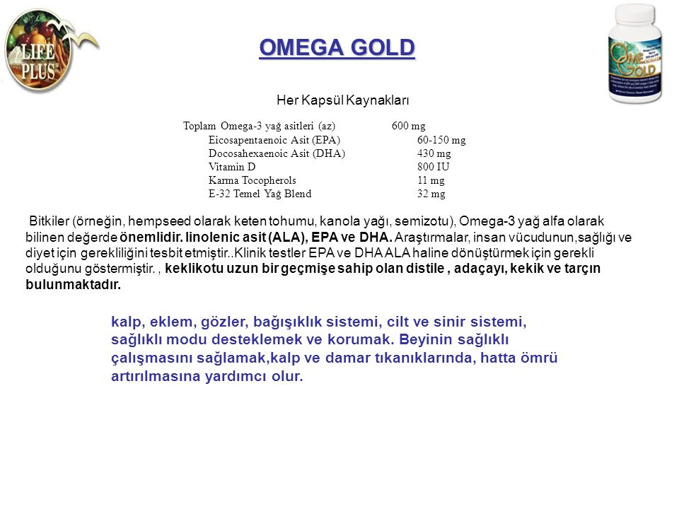 OMEGA GOLD Her Kapsül Kaynakları.