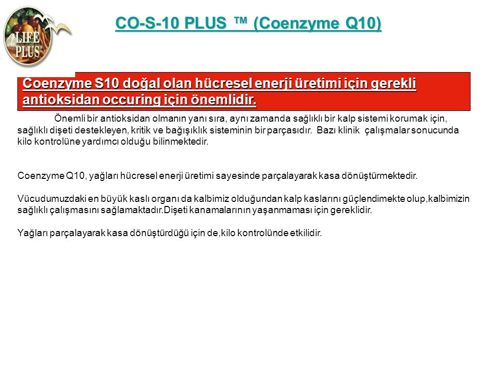 CO-S-10 PLUS ™ (Coenzyme Q10)