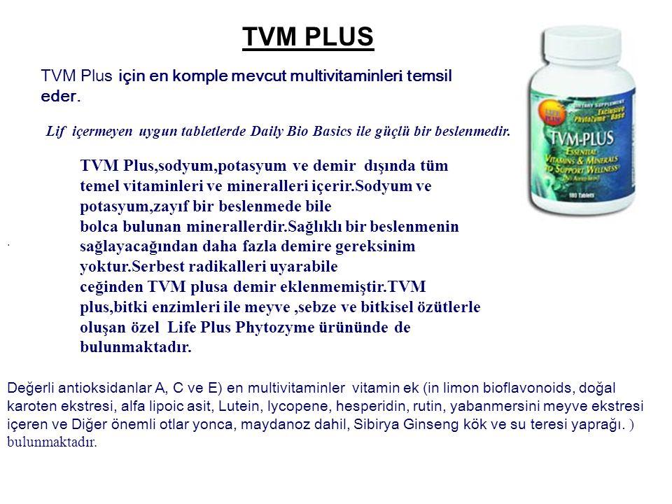 TVM PLUS TVM Plus için en komple mevcut multivitaminleri temsil eder.