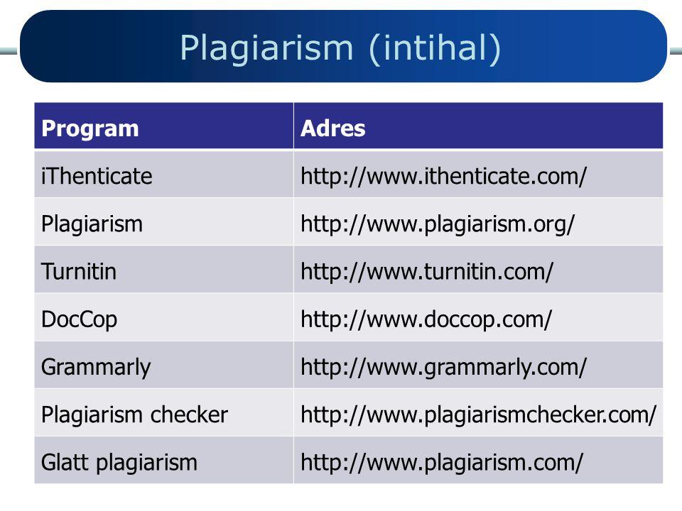 Plagiarism (intihal) Program Adres iThenticate