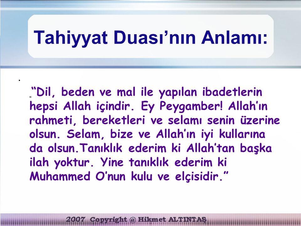 Tahiyyat Duası'nın Anlamı: