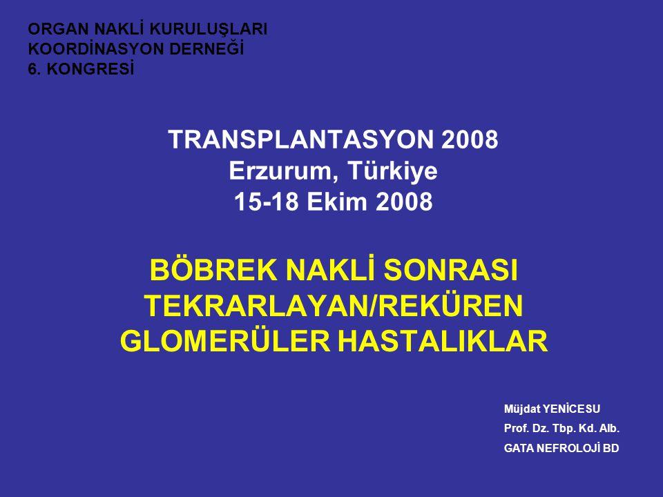 TRANSPLANTASYON 2008 Erzurum, Türkiye 15-18 Ekim 2008