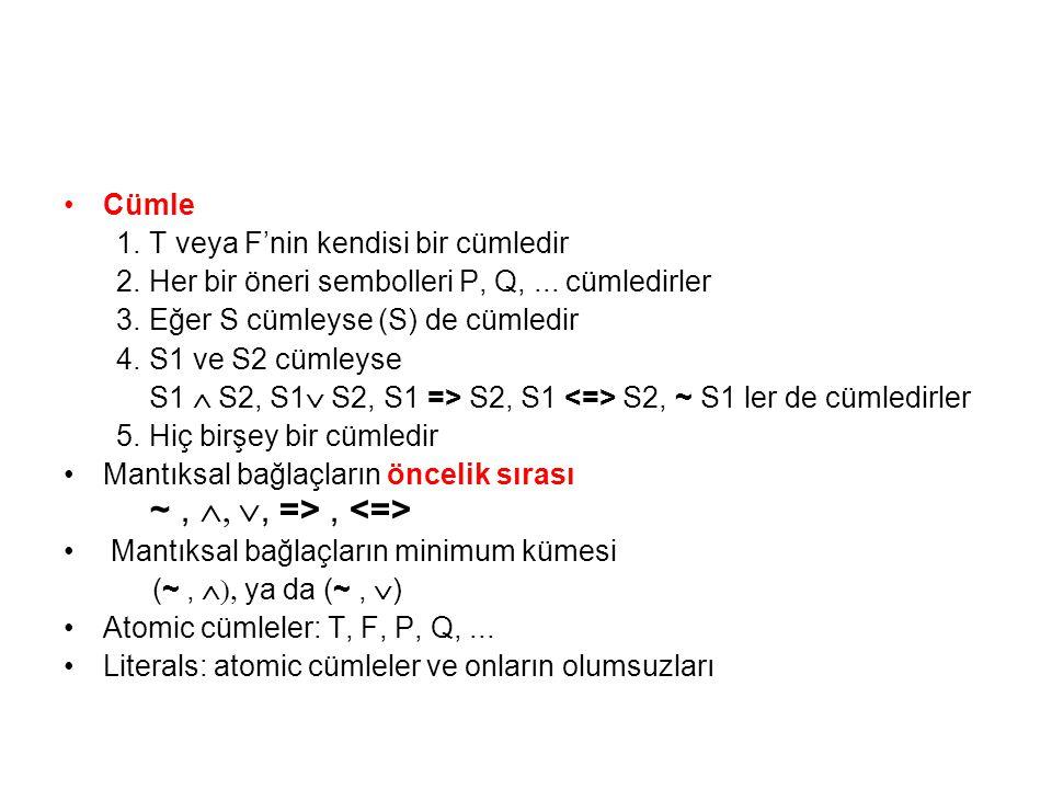 ~ , , , => , <=> Cümle T veya F'nin kendisi bir cümledir
