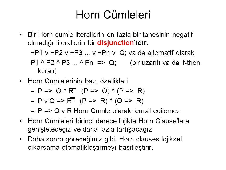 Horn Cümleleri Bir Horn cümle literallerin en fazla bir tanesinin negatif olmadığı literallerin bir disjunction'ıdır.