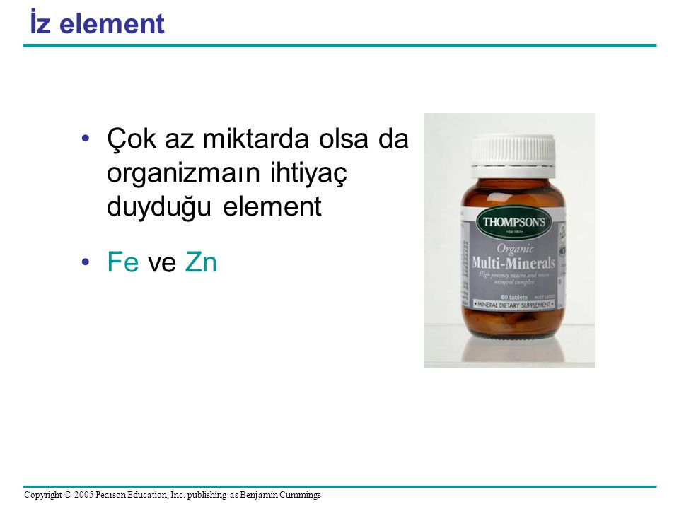 İz element Çok az miktarda olsa da organizmaın ihtiyaç duyduğu element Fe ve Zn