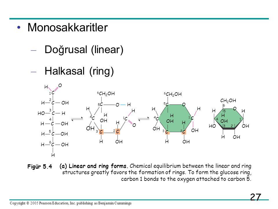Monosakkaritler Doğrusal (linear) Halkasal (ring) 4C 3 2 OH Figür 5.4