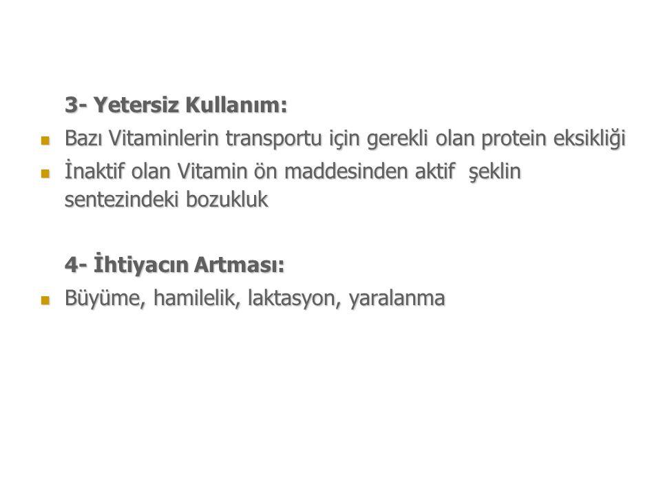3- Yetersiz Kullanım: Bazı Vitaminlerin transportu için gerekli olan protein eksikliği.